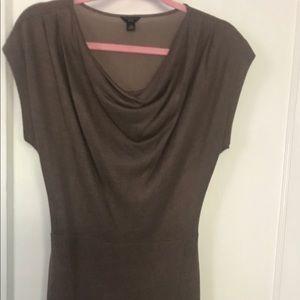 Ann Taylor Brown Cowl Neck Dress